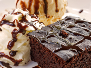 Chocoladecake met sorbet van Trappistenbier & Gieser Wildeman peer